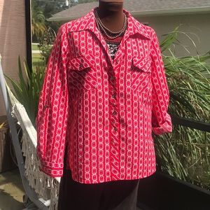 Vintage style red polyester button down shirt